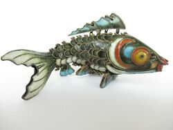 Vintage Antique Chinese Sterling Silver Enamel Articulated Koi Fish Pendant 3