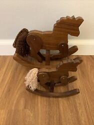 """Two Wooden Vintage Hand-made Toy Rocking Horses 8.5 And 5.5"""" Tall Moveable Legs"""
