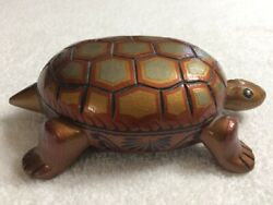 Beautiful New Barniz De Pasto-colombian Hand Carved Painted Wood Turtle