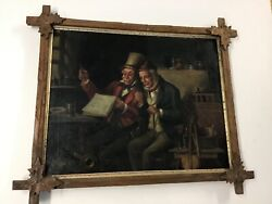 Antique Continental Oil/canvas Men With Instruments Adirondack Frame