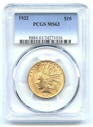 1932 10-pcgs Ms 63 -looks Way More-indian Head Eagle//