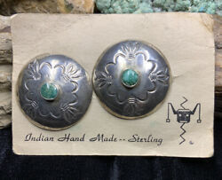 Big 1930andrsquos Andldquoberton I. Staples Shopandrdquo Sterling Silver And Turquoise Earrings 15.4g