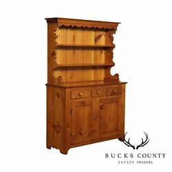 Antique 19th Century Country Pine Step Back Cupboard