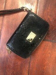 Michael Kors Phone Wallet Wristlet Women's Blk Leather Snake Print with Gold $45.00