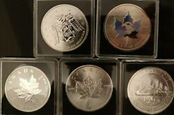 Lot Of 5 - 2009 2014x2 2016 2017 1 Oz Canadian Silver Maple Leaf Coins