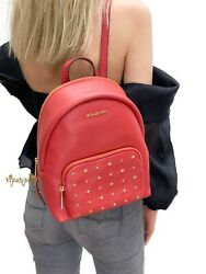 MICHAEL KORS ERIN MEDIUM STUDDED ABBEY PEBBLED LEATHER BACKPACK FLAME $87.70