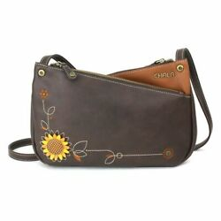 NEW CHALA BROWN YELLOW SUNFLOWER CRISS CROSSBODY TOTE BAG PURSE FAUX LEATHER $52.50