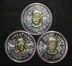 Lot Of 3 Twelve Great Americans .999 Silver And 24k Gold Rounds - Free Ship Usa