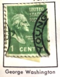 Rare 1938 - 1954 1 Cent Green George Washington Used In Andnbspgood Condition