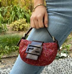 Fendi Rare Vintage Red Beaded Micro Mini And Brown Leather Logo Croissant Bag