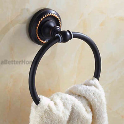 Oil Rubbed Bronze Round Bathroom Wall Mount Towel Ring Face Hand Towel Rack New