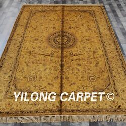 Yilong 6and039x9and039 Handmade Silk Area Rugs Golden Palace Antique Oriental Carpet G80c