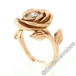 New Handmade 18k Pink Gold 0.72ct Round Diamond Rose Flower And Engraved Leaf Ring