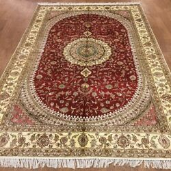Yilong 6'x9' Handmade Silk Carpet Living Room Indoor Floral Red Rug Wy366c