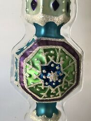Fitz And Floyd Crystal Winter Hanging Ornament Teal Blue Snowflake Blown Glass 8