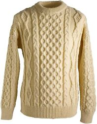 Aran Wool Irish Sweater Men's And Women's Cable Knit Crew Neck Made In Ireland