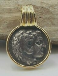 Ancient Greek Alexander The Great With Horns Coin Pendant In 18 Kt Yellow Gold