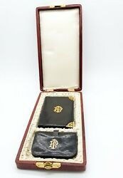 Antique Late 19thc French Leather Wallet And Coin Purse Gilt Silver Original Box