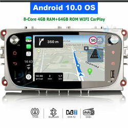 Android 10.0 Bluetooth Car Radio Gps Sat Navi For Ford Mondeo Focus S-max Mondeo