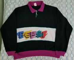 Vtg 80s Pepsi Rugby Polo Sweatshirt Spellout Pink Multicolor Colorblock Large