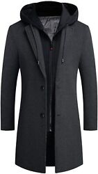 Zhpuat Menandrsquos Wool Overcoat Long Pea Coat Winter Trench Coat Slim-fit Business To