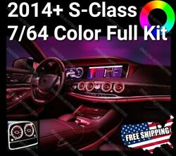 ⭐2014+ Mercedes-benz S Class 7 64 Color Led Ambient Light Full Kit S550 Amg S63