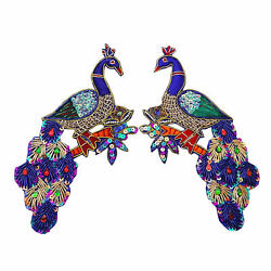 Large Blue Peacock Applique Sequin Beaded Bullion Patch Sew On India-0ht