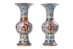 Vintage 20th Original Chinese Cloisonne Pair Vases With Dragons 40.5 Cm