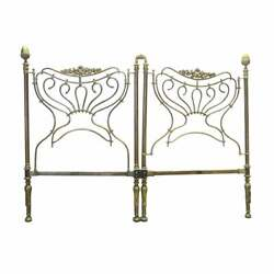 Vintage French Country Brass King Headboard Holding Hands Center Motif