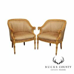 Jeffco French Louis Xv Style Carved Rams Head Pair Bergere Chairs