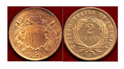 1871 2c-well Struck-scarcer Date-nice Toning -2cents++