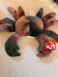 Ty Beanie Babies Claude The Crabrare, Tag Errors, Clean Excellent