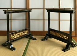Pair of Japanese Antique Wood Candle Stands in Buddhist Temple assembling H.19