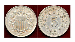 1867 No Rays 5c-2nd Year And 2nd Type With The Rays Removed-shield Nickel++