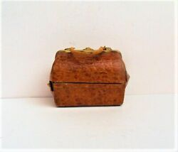 Antique Old Vintage Inkwell Miniature Travel Leather Bag Rare