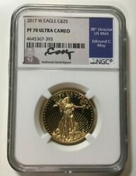 2017 W American Gold Eagle Proof 1/2 Oz 25 Ngc Pf70 Ucam Moy Signed Ultra Cameo