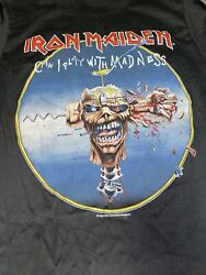 Vintage T Shirt- Iron Maiden Can I Play With Madness Skull Fist Rare Concert M