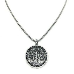 Silver Tree Of Life Coin W/ 20 Stainless Steel Chain The Fountain Faith Bible