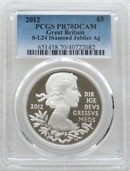 2012 Diamond Jubilee Andpound5 Five Pound Silver Proof Coin Pcgs Pr70 Dcam