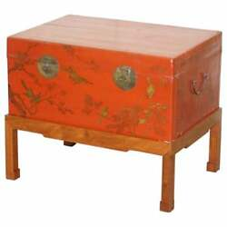 Vintage Chinese Chinoiserie Hand Painted Luggage Coffee Table Lots Storage Space