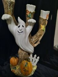 Fitz And Floyd Halloween Harvest Ghost Candle Holder Candelabra,euc W/box