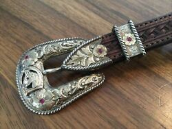 Early John Mccabe Sterling 10k Gold 3 Piece Buckle Horse Head Rubies Gorgeous