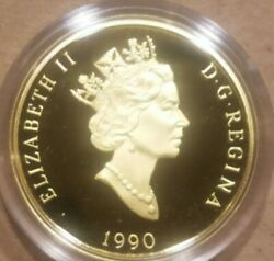 1990 200 Canadian Gold Coin Proof Canadaand039s Flag Silver Jubilee 0.505 Agw 1/2 Oz