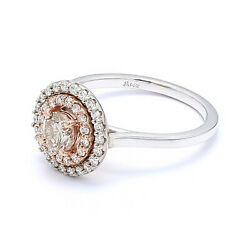 Engagement Ring 14k Champagne White And Rose Gold Double Halo Diamonds - Size 6.75
