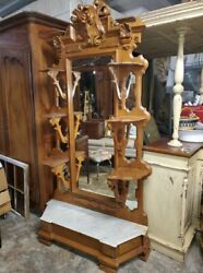 Antique Victorian Large Entry Hall Mirror Hall Tree – Dressing Mirror