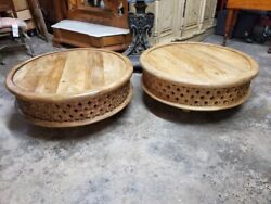 2 Hand Carved Mango Wood Coffee Tables – Beautiful Well Made