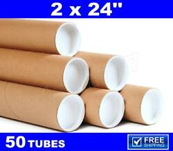 50 - 2 X 24 Kraft Tubes Poster Document Graphics Mailing Shipping Packing Tube