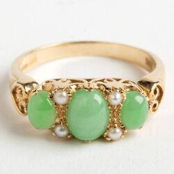 Pretty Jade And Seed Pearl Ring. Hallmarked London 2013.