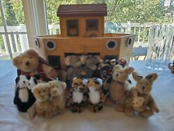 Vintage Boyd's Bears Wooden Noah's Ark W/ Noah And 6 Pairs Of Plush Animals