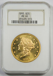 United States 1895 20 Liberty Head Gold Coin Ngc Ms62 Unc/bu Old Fatty Holder